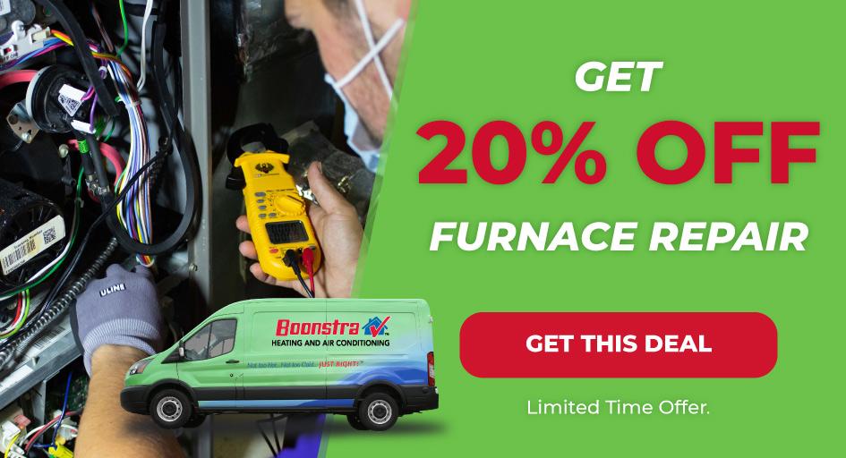 Banner for 20 percent off furnace repair discount