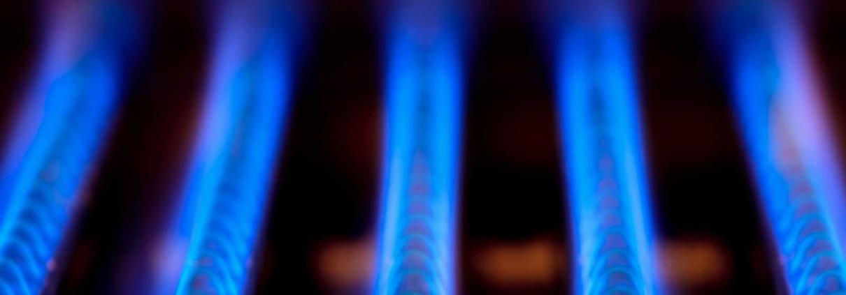 Blue burner on a home furnace