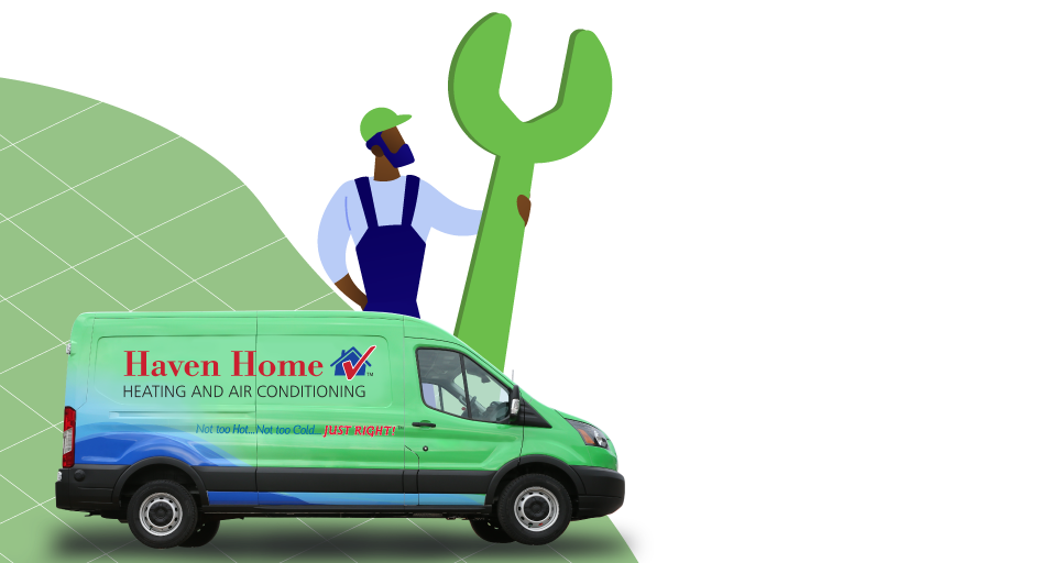 Illustration of man with giant wrench standing by Haven Home truck