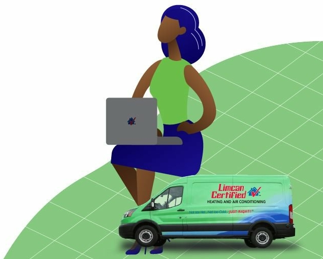 Limcan van with woman on laptop