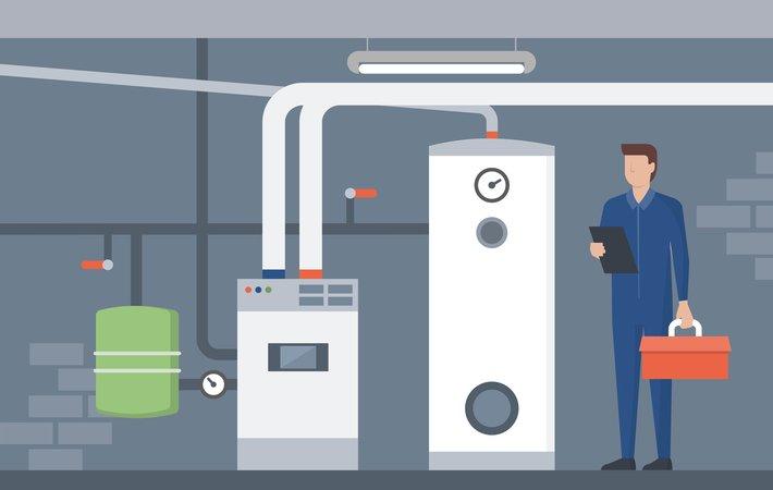 cartoon rendering of a furnace repair man