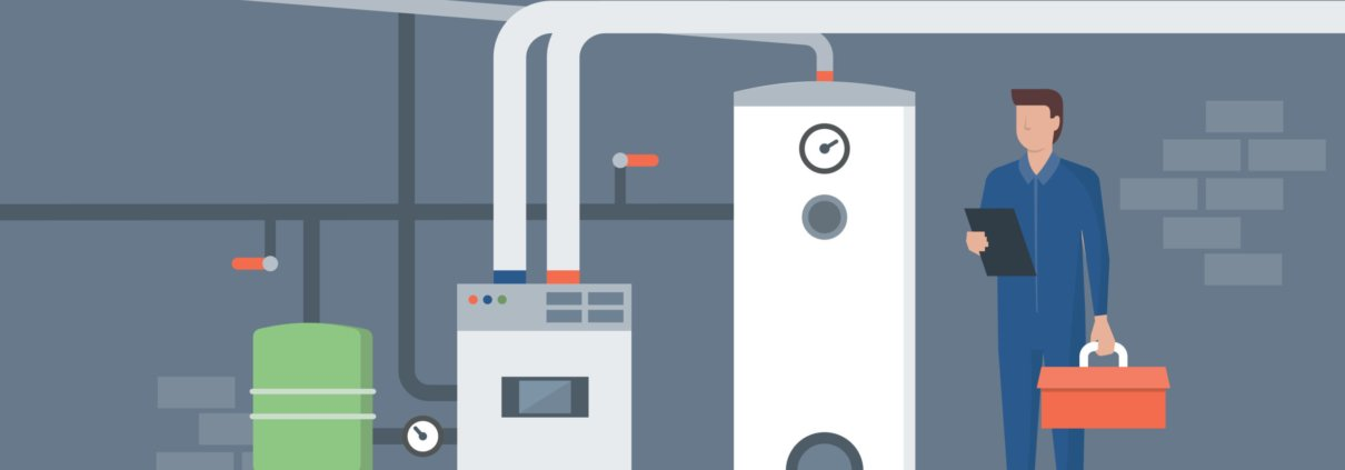 Vector image of an HVAC tech in a boiler room