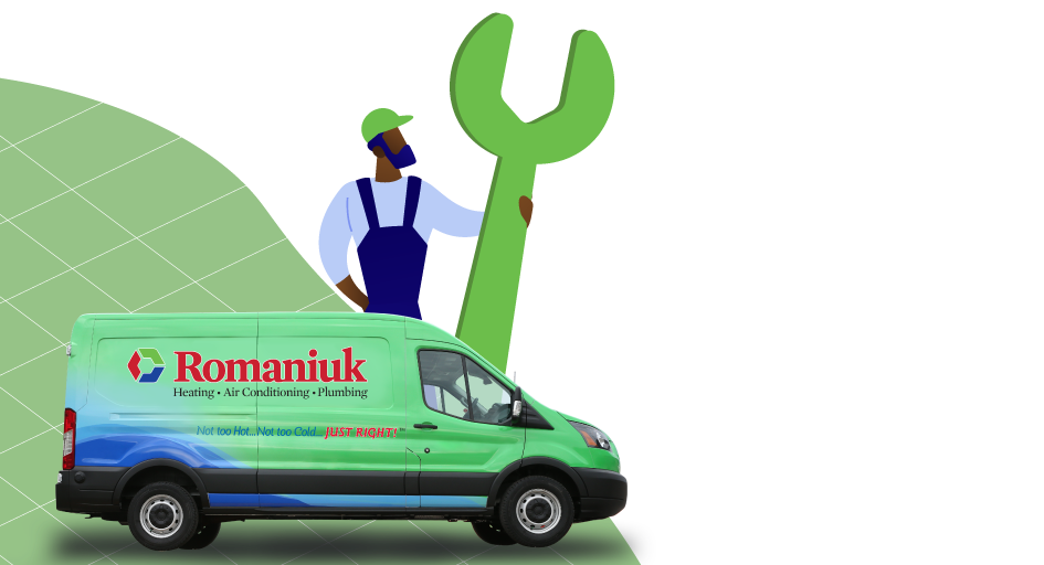 Illustration of man with giant wrench standing by Romaniuk truck